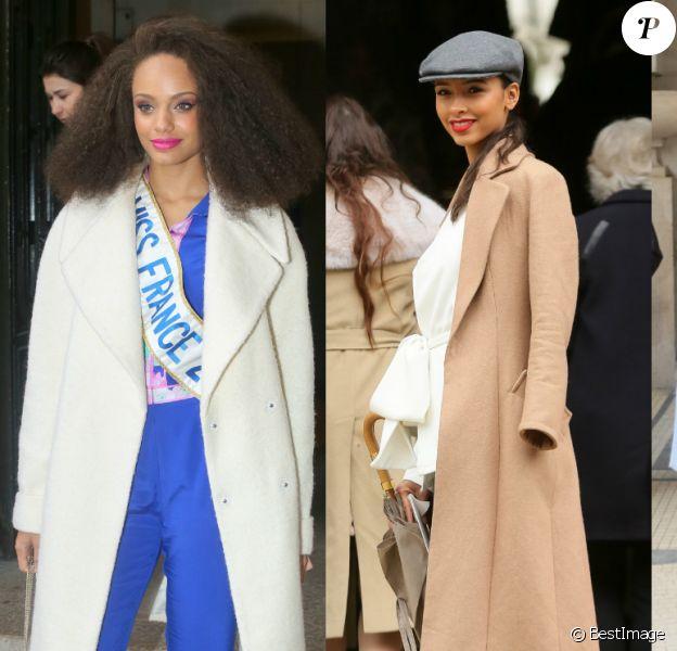 Alicia Aylies, Flora Coquerel et Malika Ménard : trois Miss France se croisent à la Fashion Week ! Paris, le 6 mars 2017.