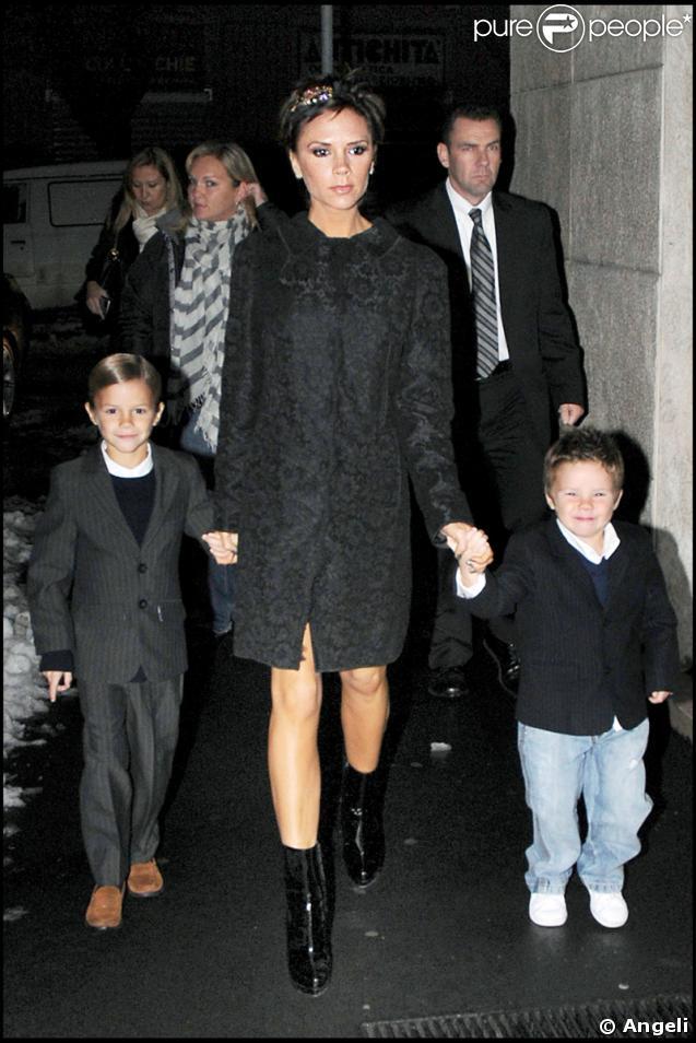 Victoria Beckham et ses enfants, Romeo et Cruz