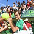 Roger Federer bat Juan Martin Del Potro lors du Master 1000 à Miami en Floride le 27 mars 2017.