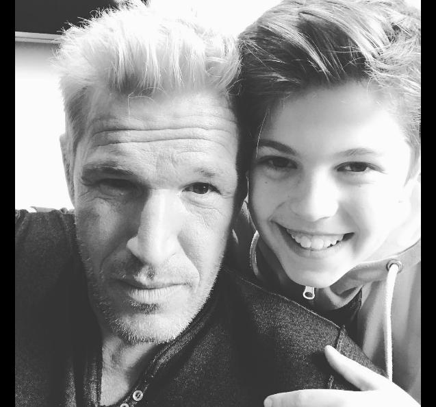 Benjamin Castaldi et son fils Enzo (13 ans). Avril 2017.