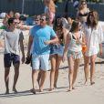 Exclusif - Cindy Crawford, Rande Gerber, leurs 2 enfants Kaia et Presley et deux amis au Nikki Beach de Saint-Barthélémy le 30 décembre 2016.