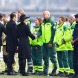La princesse Sofia (Hellqvist), le prince Carl Philip, le prince Daniel et la princesse Victoria de Suède - La famille royale de Suède remercie les services de secours et les services de sécurité, après la minute de silence devant l'Hôtel de Ville en hommage aux victimes de l'attentat de Stockholm, qui a fait 4 morts et 15 blessés. Le 10 avril 2017