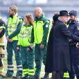Le roi Carl Gustav de Suède - La famille royale de Suède remercie les services de secours et les services de sécurité, après la minute de silence devant l'Hôtel de Ville en hommage aux victimes de l'attentat de Stockholm, qui a fait 4 morts et 15 blessés. Le 10 avril 2017