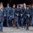 La princesse Sofia (Hellqvist), le prince Carl Philip, la princesse Victoria, le prince Daniel, la reine Silvia et le roi Carl Gustav de Suède - La famille royale de Suède à la sortie l'Hôtel de Ville après la minute de silence en hommage aux victimes de l'attentat de Stockholm, qui a fait 4 morts et 15 blessés. Le 10 avril 2017