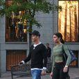 Cristiano Ronaldo se promène avec son fils Cristiano Ronaldo Jr et sa compagne Georgina Rodriguez à Madrid, le 20 avril 2017.