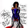 Betsey Johnson a imaginé cette longue robe bustier aux couleurs de l'Amérique, en vue d'être portée par Michelle Obama lors de l'investiture de son époux le 20 janvier 2008.