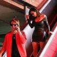 """Kim Kardashian est allée déjeuner au restaurant Chin Chin avec son meilleur ami Jonathan Cheban et sa soeur Kourtney Kardashian à Los Angeles, le 8 mai 2017."""
