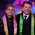 Christian Estrosi et sa femme Laura Tenoudji assistent au 1er corso du Carnaval de Nice 2017, le 11 février 2017. © Bruno Bebert/Bestimage