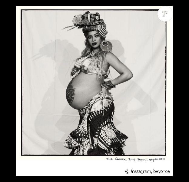 Beyoncé lors de la baby-shower organisée pour la prochaine naissance des jumeaux - Photo publiée sur Instagram le 22 mai 2017