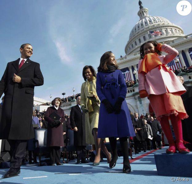 Le président Barack Obama, son épouse et ses filles le jour de l'investiture