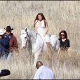 Miley Cyrus à Santa Clarita (Californie), sur le tournage de son prochain clip