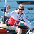 Mika Häkkinen lors de la 1re édition du Riviera Water Bike Challenge disputé en mer entre Nice et Monaco, le 4 juin 2017, au profit des actions de la Fondation Princesse Charlene de Monaco. © Claudia Albuquerque / Bestimage
