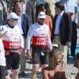 Le prince Albert II de Monaco lors de la 1re édition du Riviera Water Bike Challenge disputé en mer entre Nice et Monaco, le 4 juin 2017, au profit des actions de la Fondation Princesse Charlene de Monaco. © Claudia Albuquerque / Bestimage