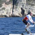 David Coulthard lors de la 1re édition du Riviera Water Bike Challenge disputé en mer entre Nice et Monaco, le 4 juin 2017, au profit des actions de la Fondation Princesse Charlene de Monaco. © Claudia Albuquerque / Bestimage