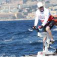 Le prince Albert II de Monaco en plein effort lors de la 1re édition du Riviera Water Bike Challenge disputé en mer entre Nice et Monaco, le 4 juin 2017, au profit des actions de la Fondation Princesse Charlene de Monaco. © Claudia Albuquerque / Bestimage