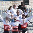Gareth Wittstock et d'autres participants lors de la 1re édition du Riviera Water Bike Challenge disputé en mer entre Nice et Monaco, le 4 juin 2017, au profit des actions de la Fondation Princesse Charlene de Monaco. © Claudia Albuquerque / Bestimage