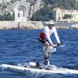 Gareth Wittstock en plein effort lors de la 1re édition du Riviera Water Bike Challenge disputé en mer entre Nice et Monaco, le 4 juin 2017, au profit des actions de la Fondation Princesse Charlene de Monaco. © Claudia Albuquerque / Bestimage