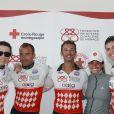 Pierre Frolla (au centre) lors de la 1re édition du Riviera Water Bike Challenge disputé en mer entre Nice et Monaco, le 4 juin 2017, au profit des actions de la Fondation Princesse Charlene de Monaco. © Claudia Albuquerque / Bestimage