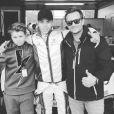 David Hallyday avec son fils Cameron, pose avec le pilote Vincent Abril sur Instagram, le 6 mai 2017.