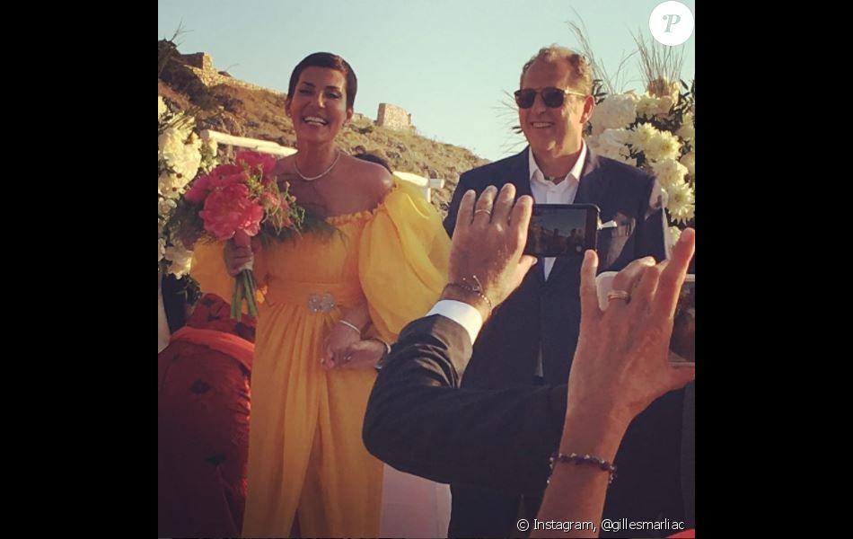 Mariage de Cristina Cordula  La Reine du Shopping en robe de mariée jaune