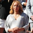 Estelle Mossely (enceinte) - Personnalités dans les tribunes lors des internationaux de France de Roland Garros à Paris. Le 10 juin 2017. © Jacovides - Moreau / Bestimage