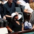 Estelle Mossely (enceinte) et Laura Flessel - Personnalités dans les tribunes lors des internationaux de France de Roland Garros à Paris. Le 10 juin 2017. © Jacovides - Moreau / Bestimage