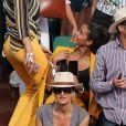 Laury Thilleman (Miss France 2011), Flora Coquerel (Miss France 2013), Laurie Cholewa - Les célébrités dans les tribunes lors des internationaux de France de Roland-Garros à Paris, le 4 juin 2017. © Dominique Jacovides-Cyril Moreau/Bestimage