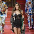 Sistine Rose Stallone (fille de Sylvester Stallone et Jennifer Flavin) - Défilé de mode Dolce & Gabbana, collection masculine printemps-été 2018 à Milan. Le 17 juin 2017.