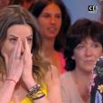 """Capucine Anav en larmes en évoquant son départ de """"Touche pas à mon poste"""". Le 20 juin 2017 sur C8."""