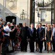 Le Président de la République Française, Emmanuel Macron et sa femme la Première dame Brigitte Macron (Trogneux) accueillent le président de la République de Colombie Juan Manuel Santos et sa femme la Première dame Clemencia Rodriguez au Palais de L'Elysée à Paris, France, le 21 juin 2017. © Dominique Jacovides/Bestimage