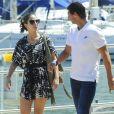 """Exclusif - Rafael Nadal passe ses vacances avec sa compagne Maria Francesca """"Xisca"""" Perello et le joueur de football Fernando Llorente, sa femme Maria et leur fille sur son yacht à Majorque en Espagne le 14 juin 2017."""