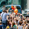 Céline Dion à la sortie de l'hôtel Le Royal Monceau à Paris, France, le 9 juillet 2017.