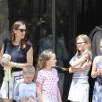 Jennifer Garner à la sortie d'un église avec ses enfants Violet, Seraphina et Samuel à Brentwood, le 9 juillet 2017