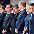 François Hollande, Nicolas Sarkozy, le prince Albert II de Monaco, Brigitte Macron (Trogneux), le président de la République Emmanuel Macron, Christian Estrosi, le maire de Nice lors de la cérémonie d'hommage aux victimes de l'attentat du 14 juillet 2016 à Nice, le 14 juillet 2017. © Bruno Bébert/Bestimage