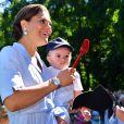 La princesse Victoria et son fils le prince Oscar - La princesse Victoria de Suède fête son 40ème anniversaire entourée de sa famille au château de Solliden sur l'île d'Oland le 15 juillet 2017, au lendemain de la date de sa naissance elle rencontre la population venue lui apporter des cadeaux
