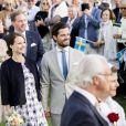 La princesse Madeleine, son mari Christopher O'Neill, la princesse Sofi (enceinte) et son mari le Carl Philip - La princesse Victoria de Suède fête son 40ème anniversaire entourée de sa famille sur l'île d'Oland le 14 juillet 2017