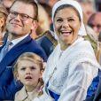Le prince Daniel, la princesse Estelle et la princesse Victoria - La princesse Victoria de Suède fête son 40ème anniversaire entourée de sa famille sur l'île d'Oland le 14 juillet 2017