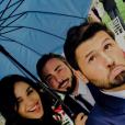 Leila Ben Khaliga, Ghislain et Christophe Beaugrand le 12 juillet 2017 au mariage de Charlotte Namura.