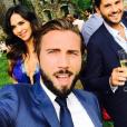 Leila Ben Khalifa, Christophe Beaugrand et Ghislain, le 12 juillet 2017 à la fête de mariage de Charlotte Namura et Jean-Luc.