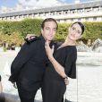 Ludovic Chancel (fils de Sheila) et sa fiancée Sylvie Ortega Munos - Présentation Petit Bateau x Marie-Agnès Gillot dans le bassin du jardin du Palais Royal à Paris, France, le 3 juillet 2017.