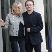 Brigitte Macron : Stylée en veste rock et slim noir pour accueillir Bono