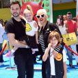 Christina Aguilera avec son fiancé Matthew Rutler et ses enfants Max Liron Bratman et Summer Rain Rutle à la première de 'Emoji' au théâtre Regency Village à Westwood, le 23 juillet 2017
