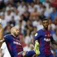"""Javier Mascherano et Karim Benzema. Finale de la Supercoupe d'Espagne """"Real Madrid - FC Barcelone"""" au stade Santiago Bernabeu à Madrid, le 16 août 2017. Le Real Madrid s'est imposé 2 à 0."""