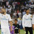 """Karim Benzema. Finale de la Supercoupe d'Espagne """"Real Madrid - FC Barcelone"""" au stade Santiago Bernabeu à Madrid, le 16 août 2017. Le Real Madrid s'est imposé 2 à 0."""