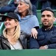 Radamel Falcao et sa femme Lorelei Taron assistent à la victoire de R.Nadal au Monte Carlo Rolex Masters 2017 à Roquebrune Cap Martin le 21 avril 2017. © Bruno Bebert / Bestimage