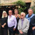 Julie Gayet et François Hollande ont dîné avec Michel Drucker, son épouse  Dany Saval et Charles Aznavour dans le village d'Eygalières le 17 août 2017.