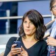 Estelle Denis dans les tribunes lors du match de Ligue 1, Paris Saint-Germain (PSG) vs Toulouse FC (TFC) au Parc des Princes à Paris, France, le 20 août 2017. Le PSG a gagné 6-2.