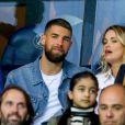 Luka Karabatic et sa compagne Jeny Priez dans les tribunes lors du match de Ligue 1, Paris Saint-Germain (PSG) vs Toulouse FC (TFC) au Parc des Princes à Paris, France, le 20 août 2017. Le PSG a gagné 6-2.
