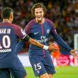 Adrien Rabiot célèbre son but avec Neymar Jr. - Match de Ligue 1, Paris Saint-Germain (PSG) vs Toulouse FC (TFC) au Parc des Princes à Paris, France, le 20 août 2017. Le PSG a gagné 6-2. © Nikola Kis Derdei/bestimage