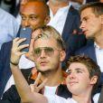 DJ Snake (William Grigahcine) dans les tribunes lors du match de Ligue 1, Paris Saint-Germain (PSG) vs Toulouse FC (TFC) au Parc des Princes à Paris, France, le 20 août 2017. Le PSG a gagné 6-2.